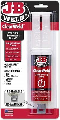 J-B Weld 50112 ClearWeld Quick-Setting Epoxy Syringe