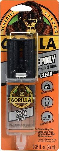 Gorilla 2 Part Epoxy, 5 Minute Set, .85 ounce Syringe