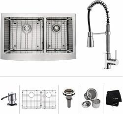 Kraus KHF203-36-KPF1612-KSD30CH 36 inch Farmhouse Kitchen Sink