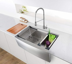 Ruvati 33-inch Apron-front Workstation Farmhouse Kitchen Sink