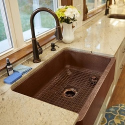 Adams Farmhouse Apron Front Handmade Copper Kitchen Sink