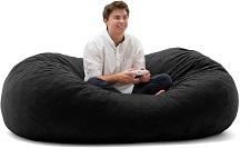 Big Joe XL Fuf Black Onyx Comfort Suede Foam Filled Bean Bag