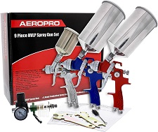 TCP Global Complete Professional 9 Piece HVLP Spray Gun Set
